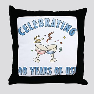 40th Anniversary Party Throw Pillow
