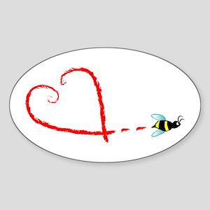 Love Bee Sticker (Oval)