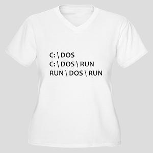 DOS RUN Women's Plus Size V-Neck T-Shirt
