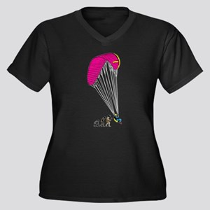 Paragliding Women's Plus Size V-Neck Dark T-Shirt