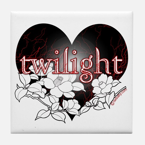 Twilight Flowers by Twibaby Tile Coaster