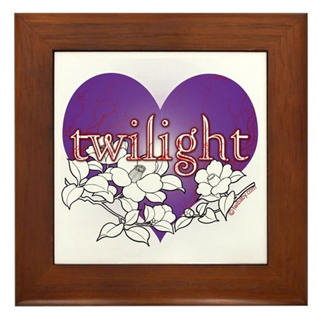 Twilight Heart Flower by twibaby Framed Tile