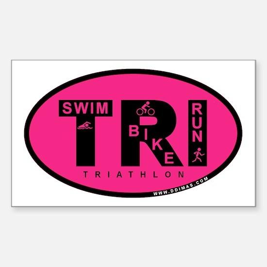 Thiathlon Swim Bike Run Sticker (Rectangle)