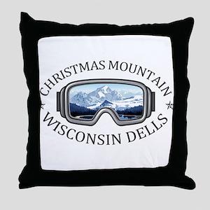 Christmas Mountain Village - Wiscon Throw Pillow