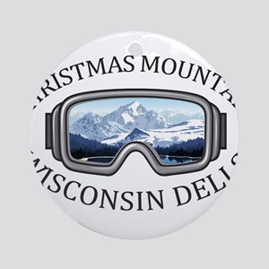 Christmas Mountain Village - Wisc Round Ornament