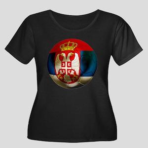 Serbia Football Women's Plus Size Scoop Neck Dark