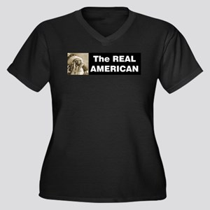 The REAL American Women's Plus Size V-Neck Dark T-