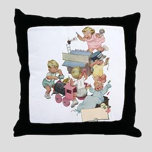 Vintage Children Playing Throw Pillow