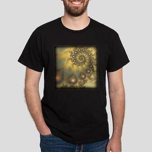 Golden Fiddle Fractal Black T-Shirt