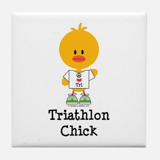 Triathlon Chick Tile Coaster