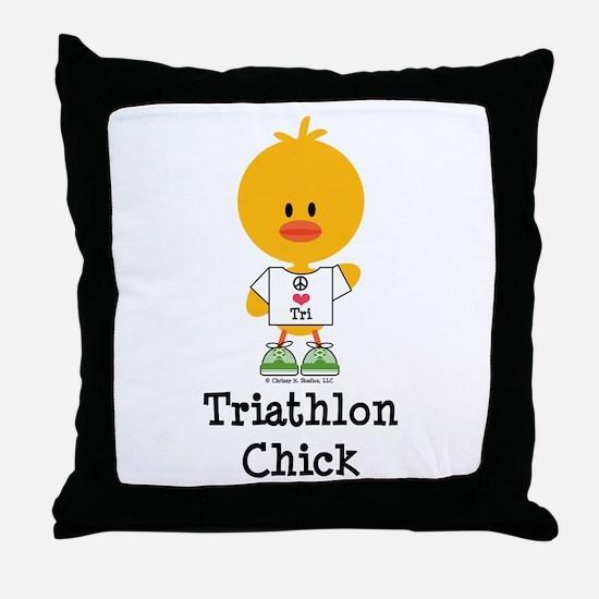Tri Chick Throw Pillow