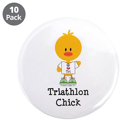 """Triathlon Chick 3.5"""" Button (10 pack)"""