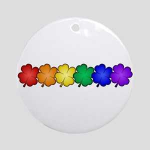 Shamrock Rainbow Pride Round Ornament