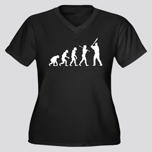 Baseball Women's Plus Size V-Neck Dark T-Shirt