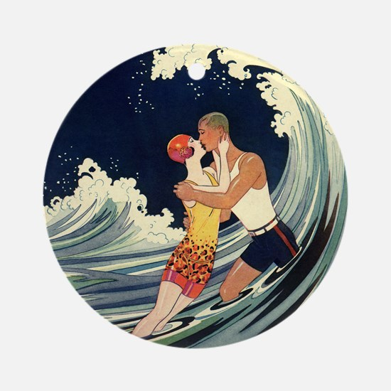 Vintage Art Deco Love in the Surf Ornament (Round)
