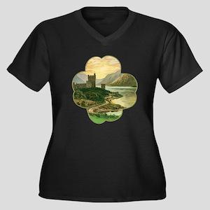 Vintage Sain Women's Plus Size V-Neck Dark T-Shirt