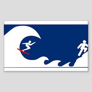 HB Surfer on a tsunami warnin Sticker (Rectangle)