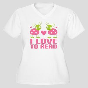 Ladybug I Love To Read Women's Plus Size V-Neck T-