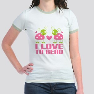 Ladybug I Love To Read Jr. Ringer T-Shirt