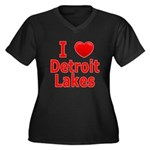 I Love Detroit Lakes Women's Plus Size V-Neck Dark
