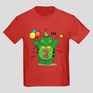 Happy Turtle 2nd Birthday Kids Dark T-Shirt