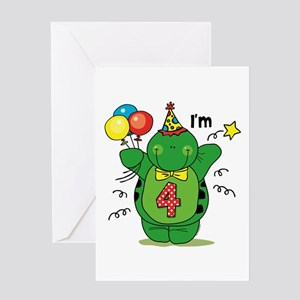 Happy Turtle 4th Birthday Greeting Card