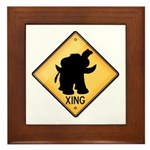 Woolly Mammoth Crossing Sign Framed Tile