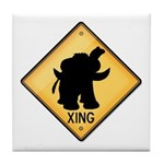 Woolly Mammoth Crossing Sign Tile Coaster