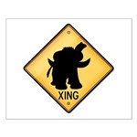 Woolly Mammoth Crossing Sign Small Poster