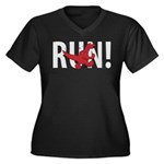 Run Dinosaur! Women's Plus Size V-Neck Dark T-Shir