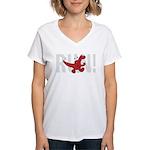 Run Dinosaur! Women's V-Neck T-Shirt