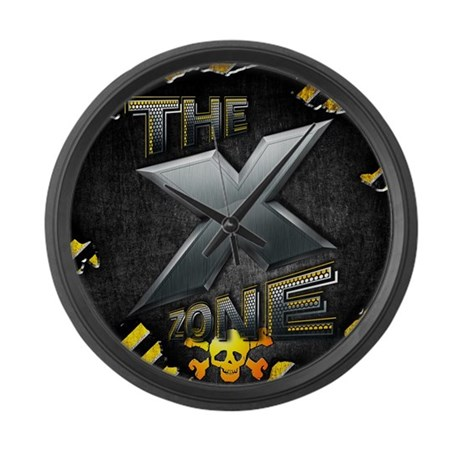 X ZONE Logo - Warning Box Large Wall Clock