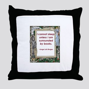 Surrounded By Books Throw Pillow
