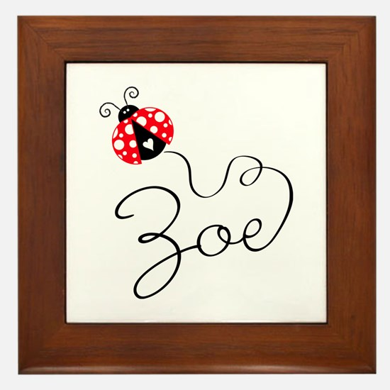 Ladybug Zoe Framed Tile