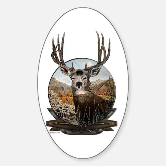 Mule deer Painting Sticker (Oval)