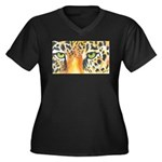 Jaguar Eyes Women's Plus Size V-Neck Dark T-Shirt