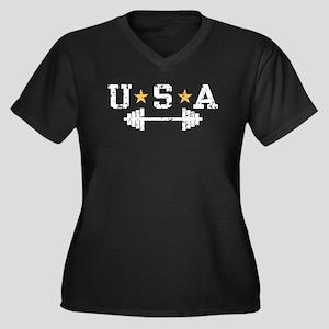 USA Weightlifting Women's Plus Size V-Neck Dark T-