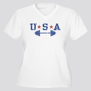USA Weightlifting Women's Plus Size V-Neck T-Shirt