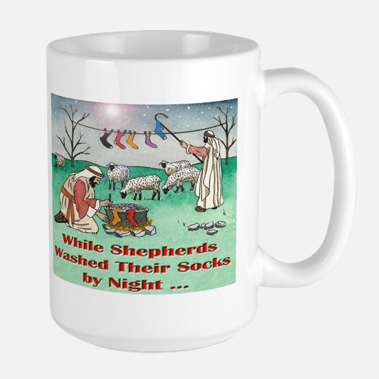 """WHILE SHEPHERDS WASHED..."" Large Mug"