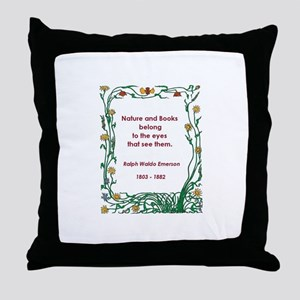 Nature and Books Throw Pillow