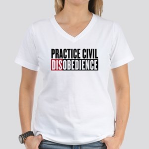 Practice Civil Disobedience Women's V-Neck T-Shirt