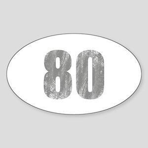Stonewashed 80th Birthday Sticker (Oval)