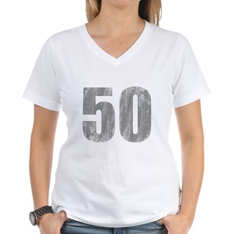 Stonewashed 50th Birthday Women's V-Neck T-Shirt