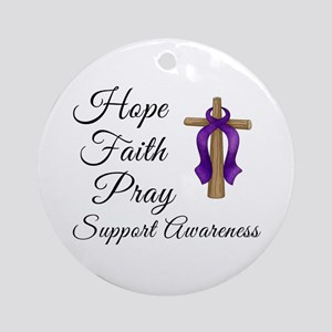 Support Awareness - Lupus Cross Ornament (Round)