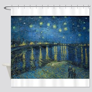 Van Gogh: Starry Night Over the Rho Shower Curtain