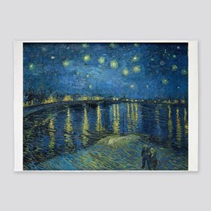 Van Gogh: Starry Night Over the Rho 5'x7'Area Rug