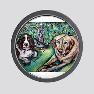Yellow Lab w English Springer Wall Clock