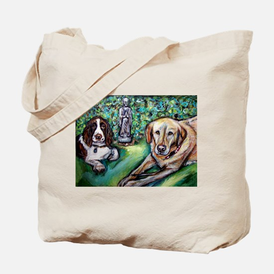 Yellow Lab w English Springer Tote Bag