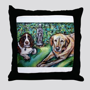 Yellow Lab w English Springer Throw Pillow