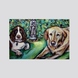 Yellow Lab w English Springer Rectangle Magnet